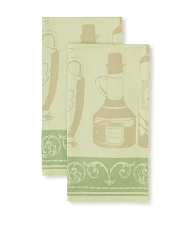 Garnier-Thiebaut Set of 2 Huiledolive Kitchen Towels, Vert