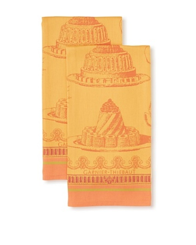 Garnier-Thiebaut Set of 2 Gateaux Delicieux Kitchen Towels, Abricot