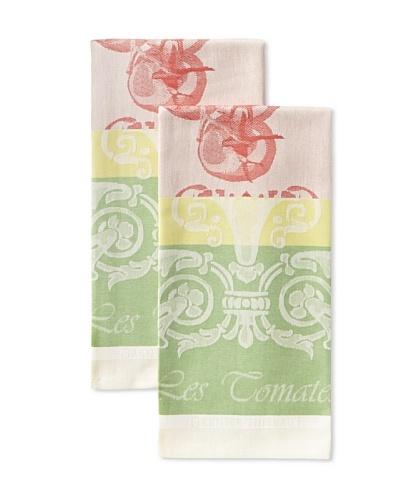 Garnier-Thiebaut Set of 2 Les Tomates Kitchen Towels, Rouge