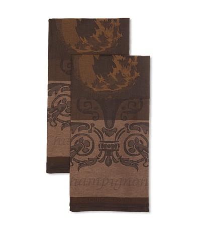 Garnier Thiebaut Set of 2 Champignons Brown Kitchen Towels