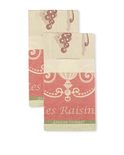 Garnier Thiebaut Set of 2 Les Raisins Black Kitchen Towels