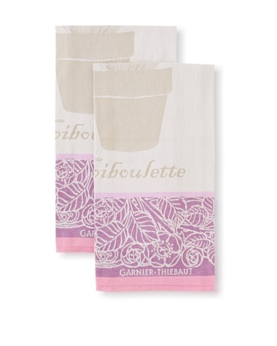 Garnier-Thiebaut Set of 2 Ciboulette Violette Kitchen Towels