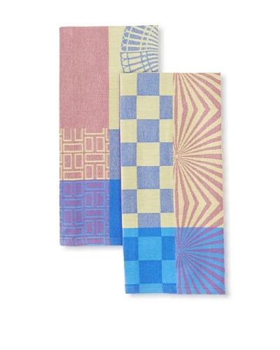 Garnier-Thiebaut Set of 2 Pave & Damier Kitchen Towels, Purple, 22 x 16