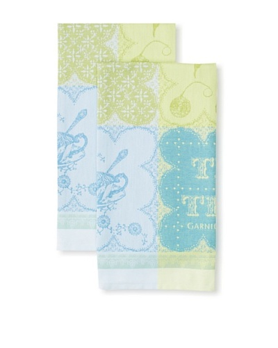 Garnier Thiebaut Set of 2 Cup of Tea Turquoise Kitchen Towels