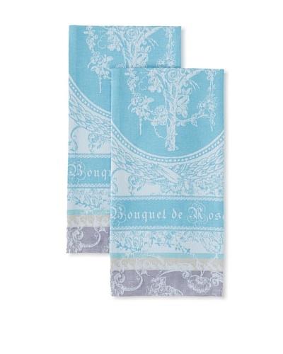 Garnier-Thiebaut Set of 2 Bouquet de Roses Kitchen Towels, Lunaire