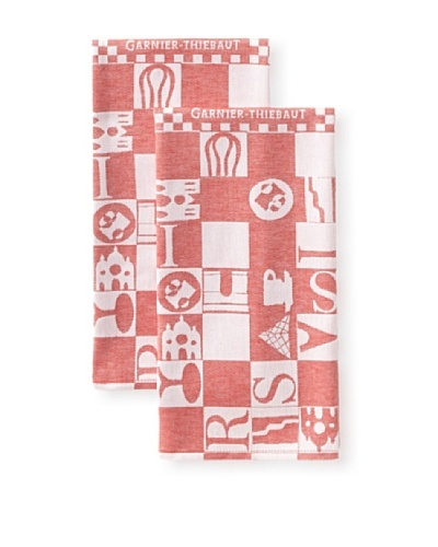 Garnier-Thiebaut Set of 2 Bistrot Kitchen Towels, Rouge