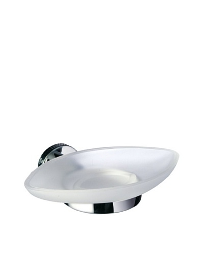 Gedy by Nameek's Demetra Collection Wall-Mountable Glass Soap Dish, White/Polished Chrome