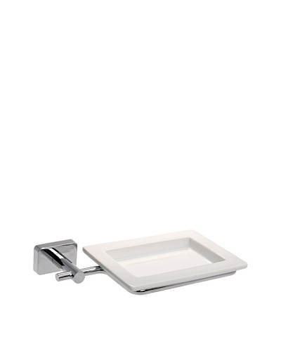 Gedy by Nameek's Minnesota Collection Wall-Mountable Soap Dish, White/Polished Chrome