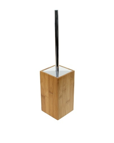 Gedy by Nameek's Wood Square Toilet Brush Holder with Brass, Bambu