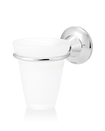 Gedy by Nameek's Ascot Collection Wall-Mountable Tumbler/Toothbrush Holder, White/Polished Chrome