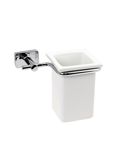 Gedy by Nameek's Minnesota Collection Wall-Mountable Tumbler/Toothbrush Holder, White/Polished Chrom...