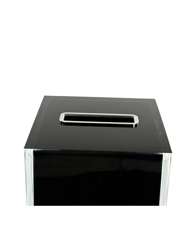 Gedy by Nameek's Thermoplastic Resin Square Tissue Box Cover, Black