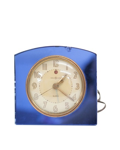 General Electric Vintage Alarm Clock, Blue/Tan