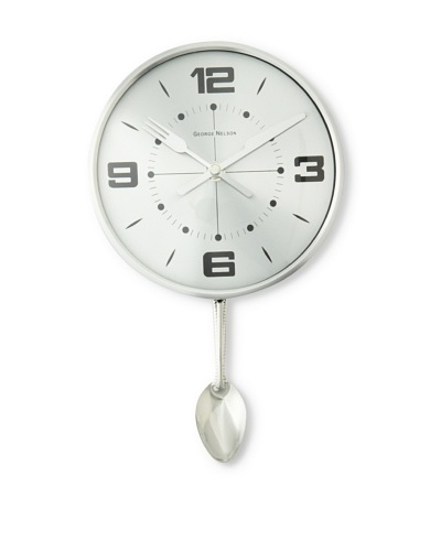 George Nelson Spoon Pendulum Clock, Silver