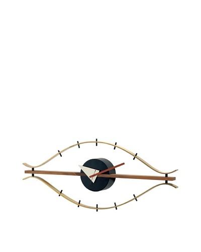 George Nelson Wood Eye Clock, Brass/Brown