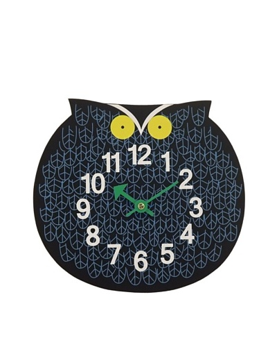 George Nelson Zoo Timer Owl Wall Clock, Blue/Black