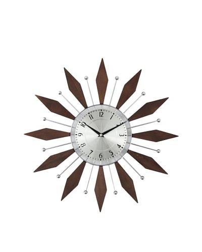 George Nelson The Harper Mid-Century Clock, Walnut/Silver