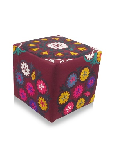 Momeni One-of-a-Kind Hand-Embroidered Suzani Ottoman
