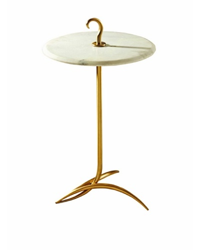 Global Views Brass and White Marble Hook Side Table