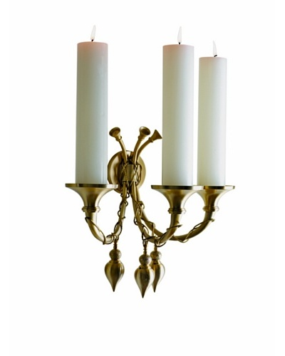 Global Views Antique-Inspired Brass Horn Acorn Candle Sconce