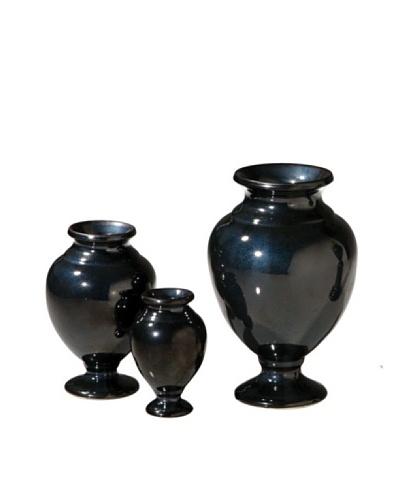 Global Views Set of 3 Pompeii Urns, Bronze