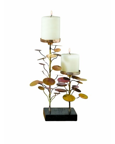 Global Views Brass Eucalyptus Two-Candle Holder