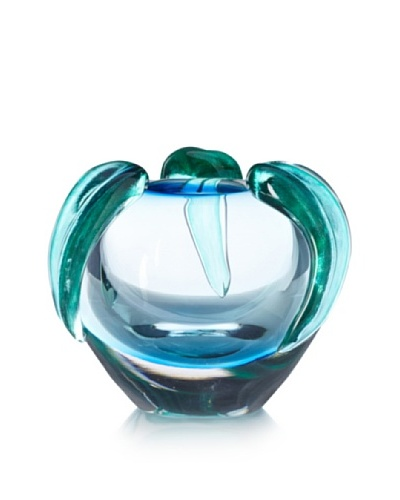 Global Views Glass Spring Leaf Bowl, Blue/Green