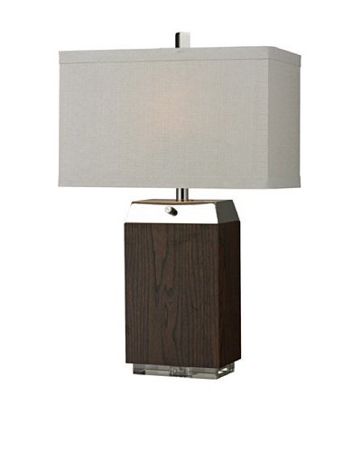HGTV Home Wood Veneer Table Lamp with Acrylic Base