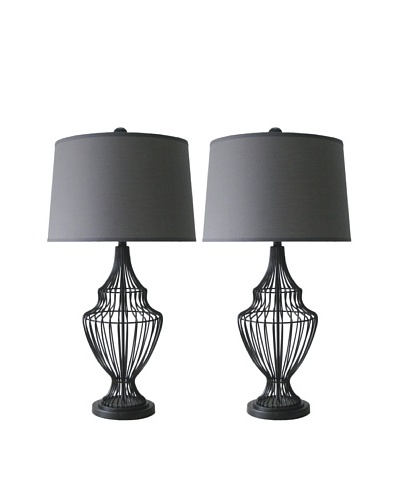 Murray Feiss Set of 2 Cage Table Lamps
