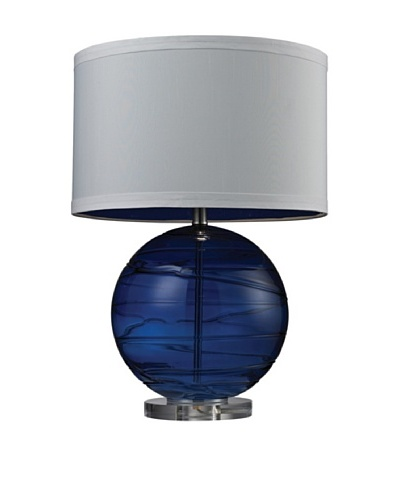 HGTV Home Sapphire Blue Mouth Blown Glass Table Lamp