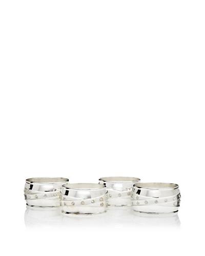 Godinger Set of 4 Satin & Stone Napkin Rings, Silver