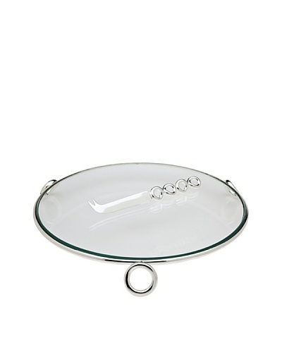 Godinger Glass Cheese Tray with Knife, Clear/Silver