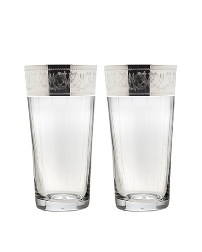 Godinger Set of 2 Heirloom Platinum Highball Glasses