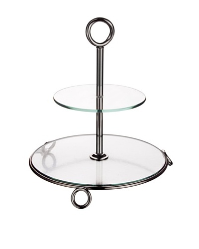 Godinger 2-Tier Glass Server, Clear/Silver