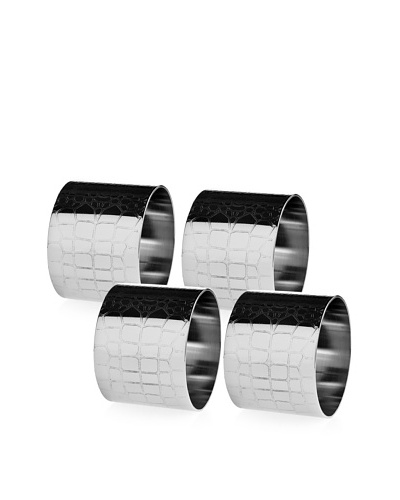 Godinger Croco Design Set of 4 Napkin Rings, Silver