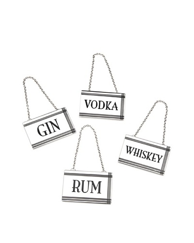 Godinger Set of 4 Rectangular Liquor Labels, Silver