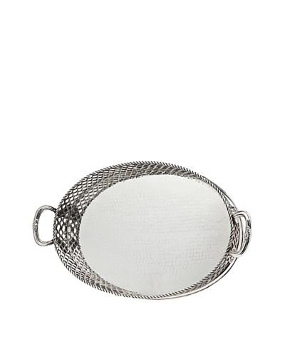 Godinger Pierced Oval Gallery Tray, Silver
