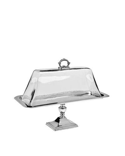 Godinger Pedestal Tray Glass Dome, Nickel
