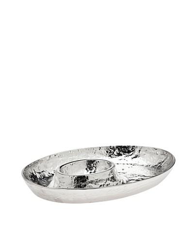 Godinger Lava Oval Chip & Dip, Silver