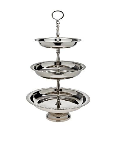Godinger 3-Tier Server Round Plates, Silver