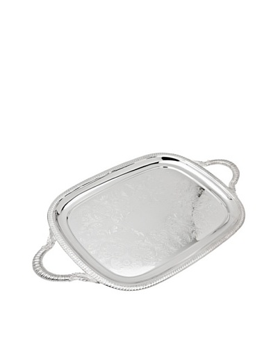 Godinger Rectangular Gadroon Handled Tray, Silver