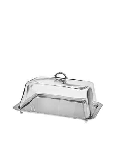 Godinger Rectangular Tray with Glass Dome, Silver