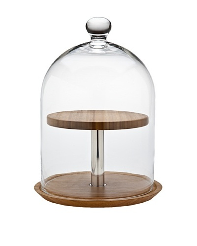 Godinger 2-Tier Wood Cheese Server with Dome, Clear/Natural