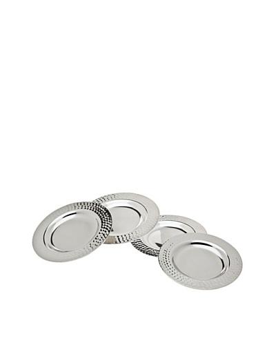 Godinger Set of 4 Round Hammered Coasters, Silver
