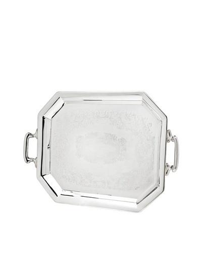 Godinger Octagonal Embossed Handled Tray, Silver