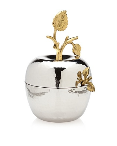 Godinger Leaf Design Apple Jam/Honey Jar with Spoon, Silver/BrassAs You See