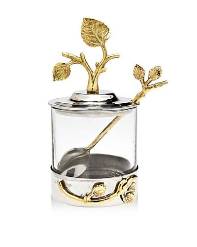 Godinger Leaf Jam/Honey Jar with Spoon, Silver/BrassAs You See