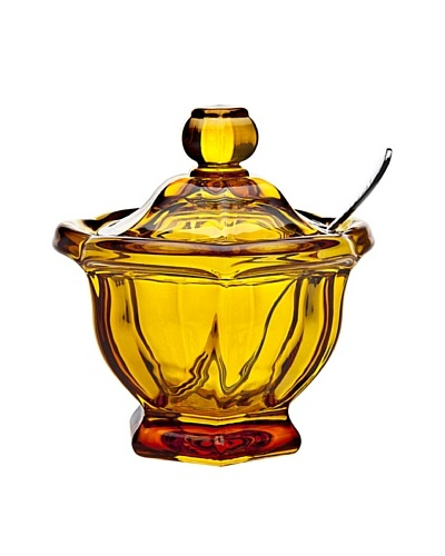 Godinger Large Windsor Jam/Honey Jar with Spoon, AmberAs You See