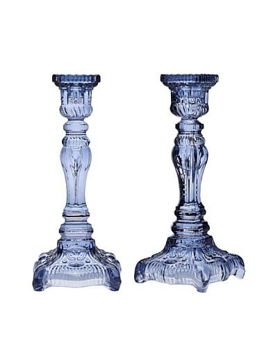 Godinger Pair of Yorktown Candlesticks, Blue
