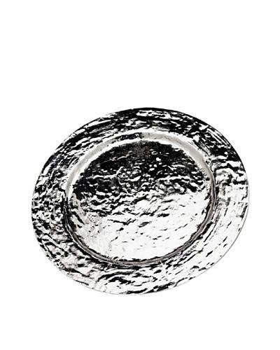 """Godinger Lava 13"""" Round Serveware Tray, Silver"""